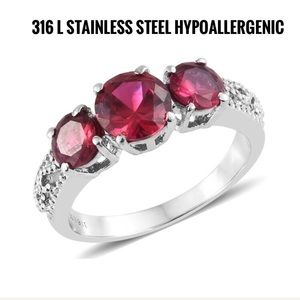 Jewelry - Simulated Ruby Stainless Steel Trilogy Ring.